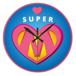 Funny Superhero Superwoman Mom emblem Large Clock