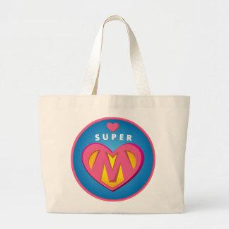 Funny Superhero Superwoman Mom emblem Large Tote Bag