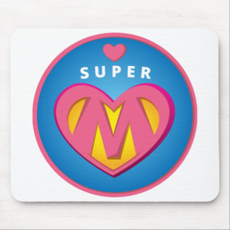 Funny Superhero Superwoman Mom emblem Mouse Pad