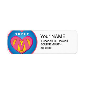 Funny Superhero Superwoman Mom emblem Return Address Label