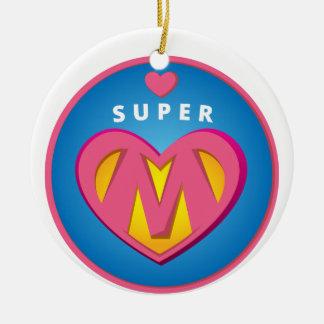 Funny Superhero Superwoman Mom emblem Round Ceramic Ornament