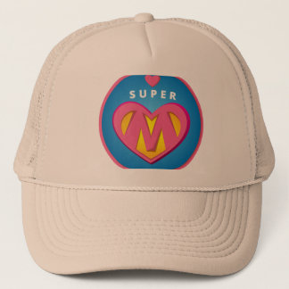 Funny Superhero Superwoman Mom emblem Trucker Hat
