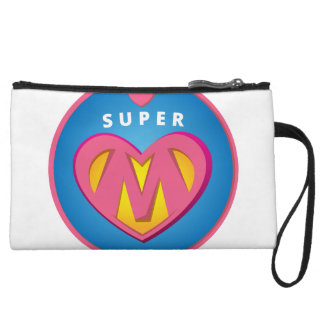 Funny Superhero Superwoman Mom emblem Wristlet