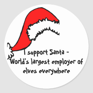 Funny Support Santa Round Sticker