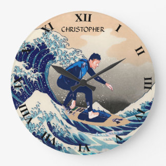 Funny Surfer Surfing On The Hokusai Great Wave Large Clock