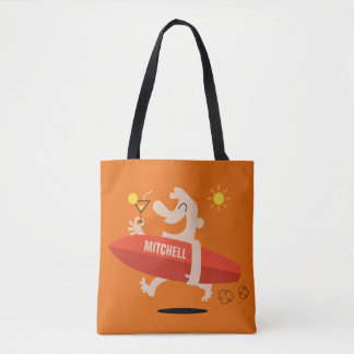 Funny Surfer with Cocktail custom name bags