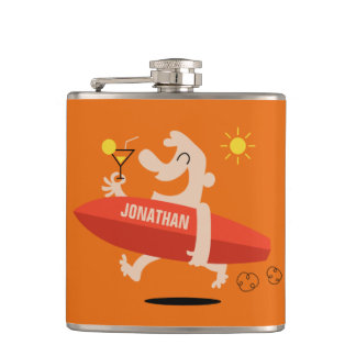 Funny Surfer with Cocktail custom name flask
