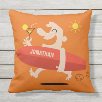 Funny Surfer with Cocktail custom name pillows