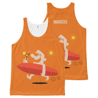 Funny Surfer with Cocktail custom name tank top