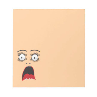 Funny Surprized lady face Notepad