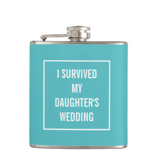 Funny Survived Daughter's Wedding Aqua and White Hip Flask