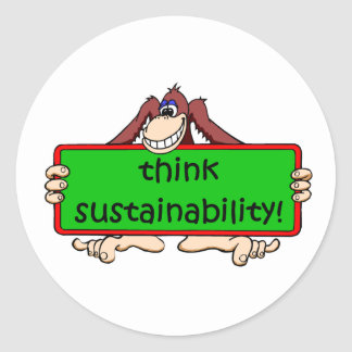 funny sustainability classic round sticker
