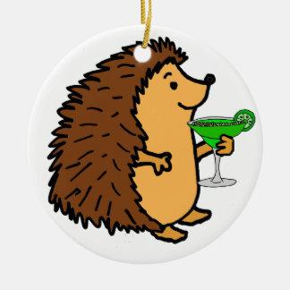 Funny Sweet Hedgehog Drinking Margarita Cartoon Ceramic Ornament