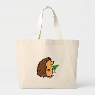 Funny Sweet Hedgehog Drinking Margarita Cartoon Large Tote Bag