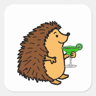 Funny Sweet Hedgehog Drinking Margarita Cartoon Square Sticker