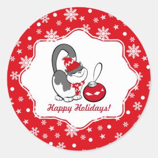 Funny Sweet Kitty Custom Christmas Stickers