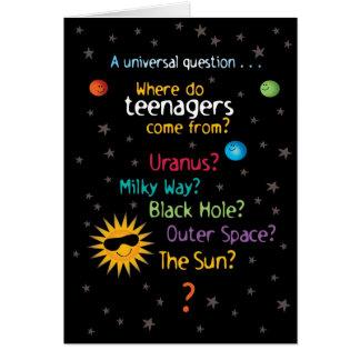 Funny/Sweet Space Teens Birthday Card