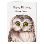 Funny Sweetheart Birthday Cute  Owl  - Greeting Card