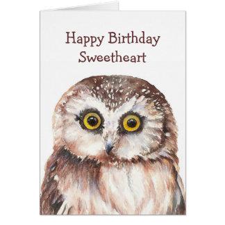 Funny Sweetheart Birthday Cute  Owl  - Card