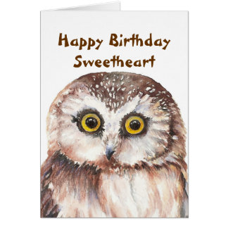 Funny Sweetheart Birthday with Cute Watercolor Owl Card