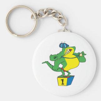 funny swimmer champ alligator crocodile keychain