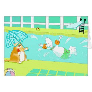 Funny swimming Birthday Card