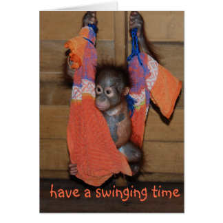 Funny Swinging Birthday Greeting Card