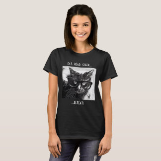 Funny T, Cat & Book Lovers! Eat Read Sleep Repeat T-Shirt