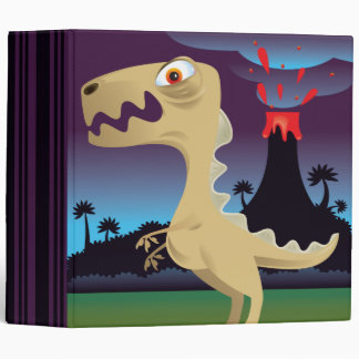 Funny T-Rex and Volcano Notebook 3 Ring Binders