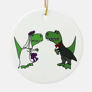Funny T-rex Dinosaur Bride and Groom Wedding Art Ceramic Ornament