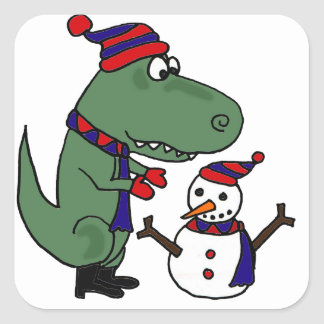 Funny T-Rex Dinosaur Building Snowman Square Sticker