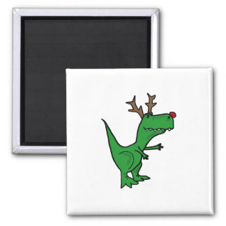 Funny T-Rex Dinosaur Christmas Reindeer Square Magnet