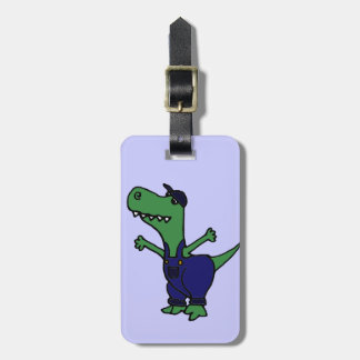 Funny T-rex Dinosaur in Overalls Bag Tag