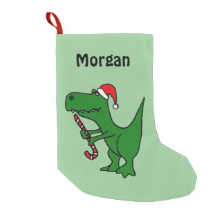 Funny T-Rex Dinosaur in Santa Hat Stocking