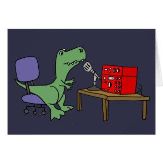 Funny T-rex Dinosaur on Ham Radio Card