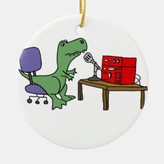 Funny T-rex Dinosaur on Ham Radio Ceramic Ornament