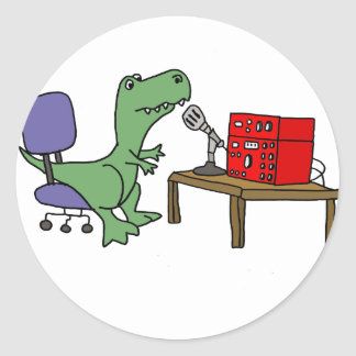 Funny T-rex Dinosaur on Ham Radio Classic Round Sticker