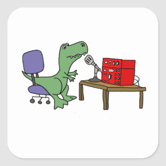Funny T-rex Dinosaur on Ham Radio Square Sticker