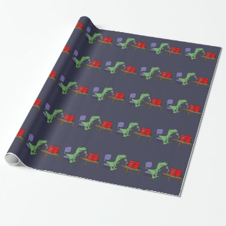 Funny T-rex Dinosaur on Ham Radio Wrapping Paper