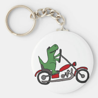 Funny T-rex Dinosaur on Red Motorcycle Keychain