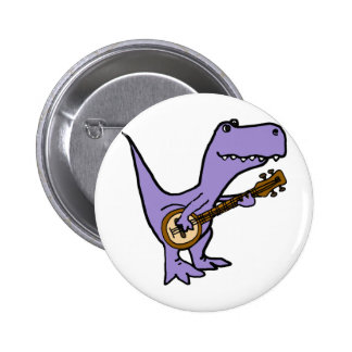 Funny T-rex Dinosaur Playing Banjo 2 Inch Round Button