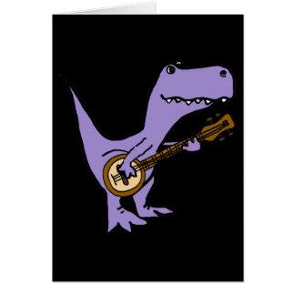 Funny T-rex Dinosaur Playing Banjo Card