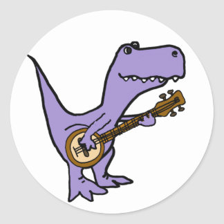 Funny T-rex Dinosaur Playing Banjo Classic Round Sticker