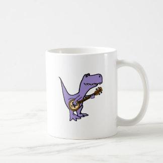 Funny T-rex Dinosaur Playing Banjo Coffee Mug