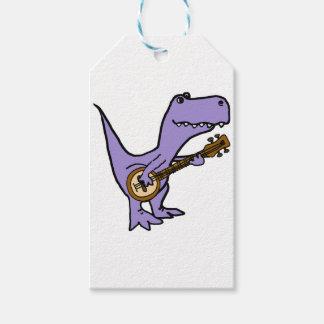 Funny T-rex Dinosaur Playing Banjo Gift Tags