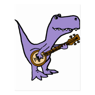 Funny T-rex Dinosaur Playing Banjo Postcard