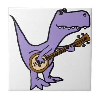 Funny T-rex Dinosaur Playing Banjo Tile