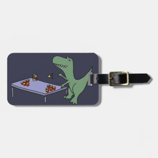 Funny T-rex Dinosaur Playing Beer Pong Luggage Tag
