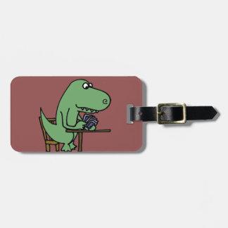 Funny T-Rex Dinosaur Playing Cards Bag Tag