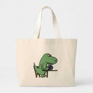 Funny T-Rex Dinosaur Playing Cards Large Tote Bag